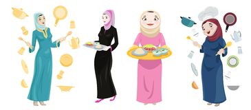 Khaliji Women Cooking Icons Stock Photography