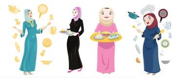 Khaliji Women Cooking Icons. Icons of Khaliji women in a cooking setting holding trays & cooking utensils Stock Photography