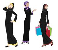 Khaliji Women Icons In Standing Positions stock illustration