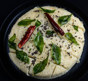 Khaman dhokla-Gujarati meal in India. Gujarati meal in India-dhokla served for breakfast or tea time or with main course Stock Photo