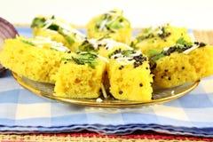 Khaman dhokla traditional gujrati indian snack food dish Royalty Free Stock Photography