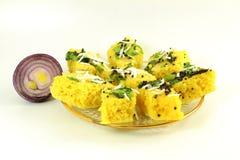 Khaman dhokla traditional gujrati indian snack food dish Stock Image