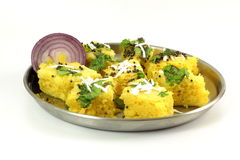 Khaman dhokla traditional gujrati indian snack food dish Royalty Free Stock Photos