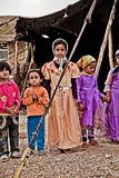 Khamsheh nomad tribe. There a bunch of kids belong to the khamsheh tribe that greeted me with songs and homemade food Stock Images