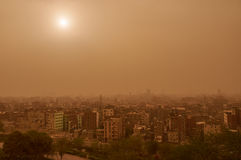 Khamsin in Cairo. The Sun view in Cairo during sandstorm caused by Khamsin in March, 2015 Stock Images