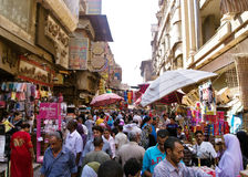 Khan El Khalili bazaar in Cairo. Scene from the busy Khan El Khalili bazaar in Cairo. Khan El Khalili is a major souk in the Islamic district of Cairo Stock Photography