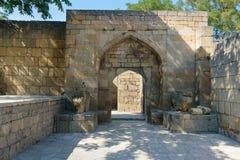 Khan` s paleis in vesting naryn-Kala Derbent stock foto's