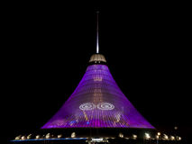 Khan Shatyr at night. Khan Shatyr Entertainment Center, which is a landmark in Astana - Kazakhstan, is the highest tensile structure in the world Stock Image
