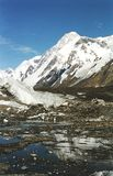 Khan-Tengri peak. And glacier Northern Inglychek royalty free stock image