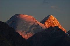 Khan Tengri at sunset. Khan Tengri peak at sunset Royalty Free Stock Images