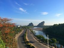 Khanabnum Krabi Thailand road side sea Royalty Free Stock Photo