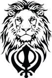 Khanda est le symbole le plus significatif de Sikhisme, d?cor? d'un lion images stock