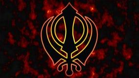 Khanda is het symbool van Sikhism Een tragische datum voor al brand van Sikhs -1984 op de achtergrond royalty-vrije stock afbeeldingen