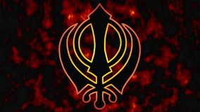 Khanda is the symbol of Sikhism.A tragic date for all Sikhs -1984 fire in the background. royalty free stock images