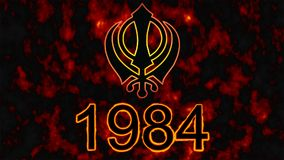Khanda is the symbol of Sikhism.A tragic date for all Sikhs -1984 fire in the background. stock images