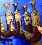 Khanjar των Αράβων στο επίδειξη-αραβικό παλαιό στιλέτο Στοκ εικόνα με δικαίωμα ελεύθερης χρήσης