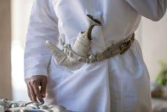 Khanjar dolk på ett traditionellt bälte Royaltyfria Bilder