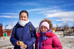 KHANKH, MONGOLIA - March 11, 2016: Modern Mongolian children Stock Photos