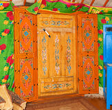 KHANKH, MONGOLIA - March, 21, 2016: National designs on door in Mongolian yurt Stock Photography