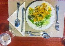 Khanom下巴面条,由米被做的普遍的泰国食物 库存照片
