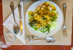 Khanom下巴面条,由米被做的普遍的泰国食物 免版税图库摄影