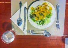 Khanom下巴面条,由米f被做的普遍的泰国食物 库存图片