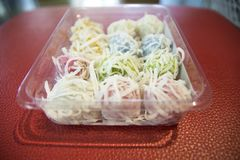 Khanom汤姆-泰国煮沸的甜点 免版税图库摄影