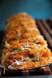Khanom bueang, sort av thailändsk sweetmeat Royaltyfri Fotografi