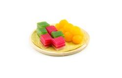 Khanom Chan eller thailändsk sweetmeat är en kind av den söta thailändska efterrätten Royaltyfri Fotografi