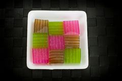Khanom Chan or Thai sweetmeat is a kind of sweet Thai dessert. Royalty Free Stock Photography