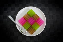 Khanom Chan or Thai sweetmeat is a kind of sweet Thai dessert. Stock Photo
