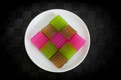 Khanom Chan or Thai sweetmeat is a kind of sweet Thai dessert. Royalty Free Stock Photo