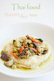 Khanom Chin, freshly made Thai rice noodles with green curry. Royalty Free Stock Image