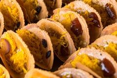 Khanom thailändska Beaung som är thailändsk, eller en sort av fylld thailändsk mat för pannkaka eller Arkivbild