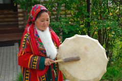 Khanty herder woman. YAMAL, RUSSIA - AUG 27, 2009: Small peoples of the Russian North. Yamal-Nenets Autonomous District. Khanty herder woman in national dress Royalty Free Stock Photography