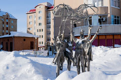 KHANTY-MANSIYSK, RUSSIE - 17 février 2017 Le ` sculptural de composition le ` de saisons Date de l'installation - 2010, l'artiste Photos libres de droits