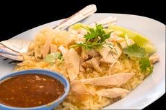 KHAO人KAI (米蒸用鸡汤) 库存照片