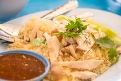 KHAO人KAI (米蒸用鸡汤) 免版税库存照片