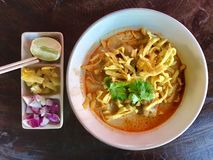 Khao大豆,地方面条用从北泰国的椰奶汤 免版税图库摄影