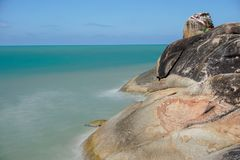 Khao Kao Saeng, Songkhla, Thailand. With smooth sea with blue sky Royalty Free Stock Photography
