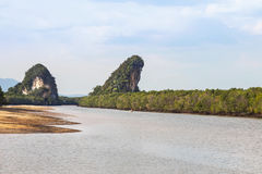 Khao Kha Nab Nam limestone mountains symbol of  Krabi  Thailand Stock Photo