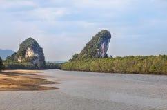 Khao Kha Nab Nam two limestone mountains symbol of Krabi Thailand Stock Photos