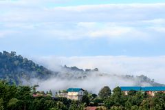 Khao Kho City in fog in morning Royalty Free Stock Photos