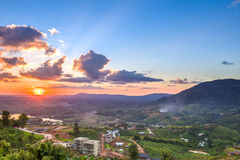 Khao Kho mountain ranges in the sunset, Thailand Royalty Free Stock Photos
