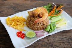 Khao Klook Kapi: Rijst die met Garnalendeeg wordt gemengd Stock Foto