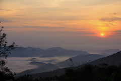 The sunrise at Khao Krajome Royalty Free Stock Photography