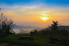 The sunrise at Khao Krajome. Khao Krajome suanphueng ratchaburi thailand royalty free stock images