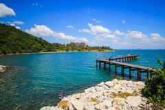 Khao Laem Ya sea pier. A travel spot in Rayong province of Thailand Royalty Free Stock Images