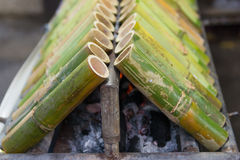 Khao Larm :: sticky rice grilled in bamboo tube Stock Image