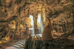 Khao Luang Cave, Petchaburi, Thailand. Khao Luang cave, the natural cave with a large number of Buddha images in Petchaburi province, Thailand stock images